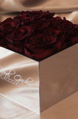 Bordo ruže u lux mirror box-u - 9 cvjetova