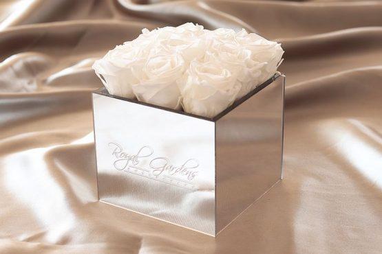 Bijele ruže u lux mirror box-u - 9 cvjetova