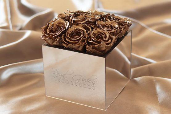 Zlatne ruže u lux mirror box-u - 9 cvjetova