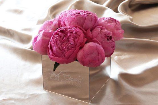 Tamnorozi božuri u lux mirror box-u - 9 cvjetova